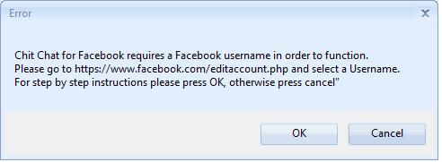 Facebook Username Error Message